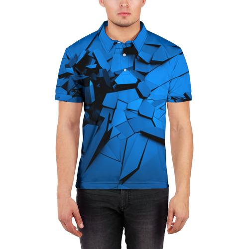 Мужская рубашка поло 3D  Фото 03, Carbon abstraction BLUE