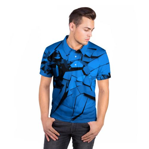 Мужская рубашка поло 3D  Фото 05, Carbon abstraction BLUE