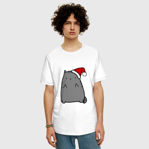 Мужская футболка хлопок Oversize New Year Cat Фото 01