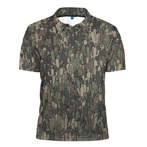 Мужская рубашка поло 3D  Фото 01, Камуфляж с кактусами