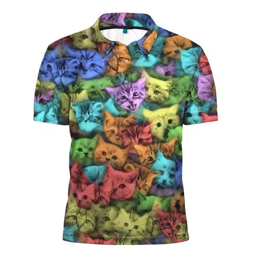 Мужская рубашка поло 3D  Фото 01, Разноцветные коты