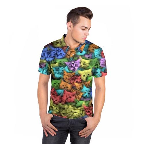 Мужская рубашка поло 3D  Фото 05, Разноцветные коты