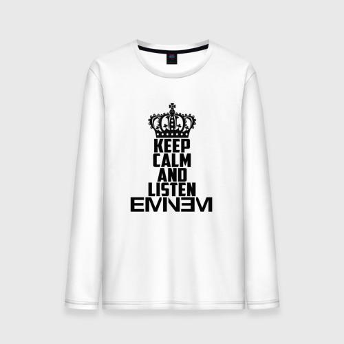 Мужской лонгслив хлопок  Фото 01, Keep calm and listen Eminem