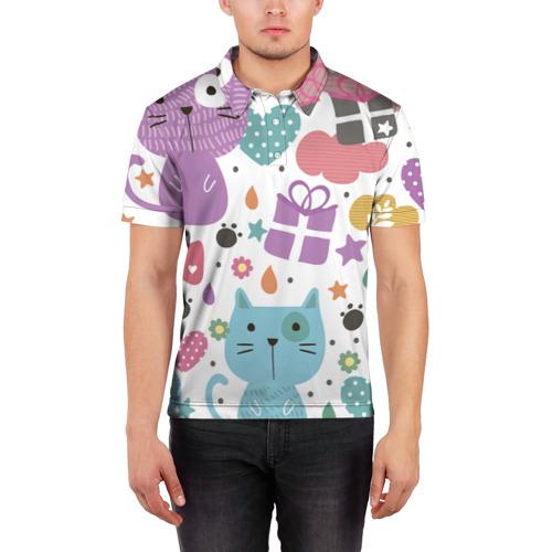 Мужская рубашка поло 3D  Фото 03, Яркие котики