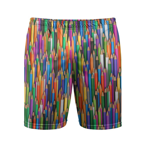 Мужские шорты 3D спортивные Разноцветные карандаши