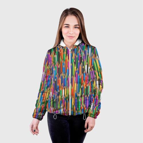 Женская куртка 3D  Фото 03, Разноцветные карандаши