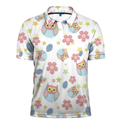 Мужская рубашка поло 3D  Фото 01, Веселые совята