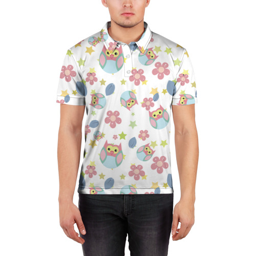 Мужская рубашка поло 3D  Фото 03, Веселые совята