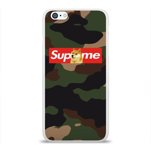 Чехол для Apple iPhone 6Plus/6SPlus силиконовый глянцевый Supreme Doge camouflage Фото 01