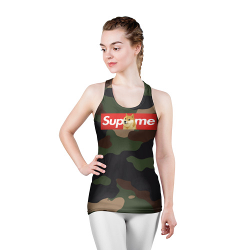 Женская майка 3D спортивная Supreme Doge camouflage Фото 01