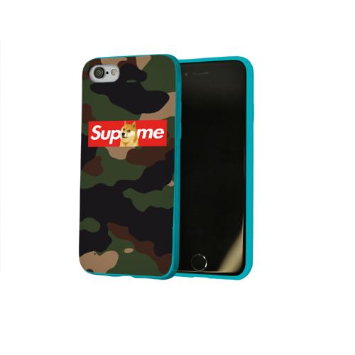 Чехол для Apple iPhone 8 силиконовый глянцевый Supreme Doge camouflage Фото 01