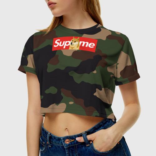 Женская футболка Cropp-top Supreme Doge camouflage Фото 01