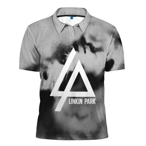 Мужская рубашка поло 3D  Фото 01, LINKIN PARK GRAY ABSTRACT ROCK