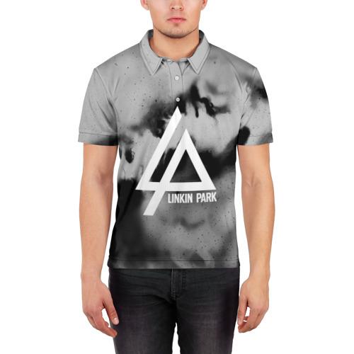 Мужская рубашка поло 3D  Фото 03, LINKIN PARK GRAY ABSTRACT ROCK