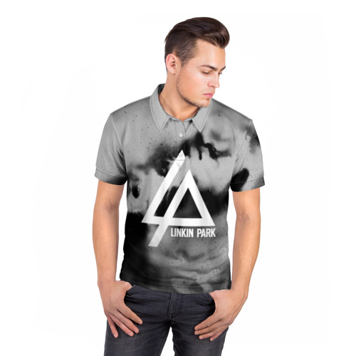 Мужская рубашка поло 3D  Фото 05, LINKIN PARK GRAY ABSTRACT ROCK