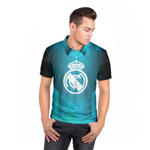 Мужская рубашка поло 3D  Фото 05, Real Madrid Geometry Sport