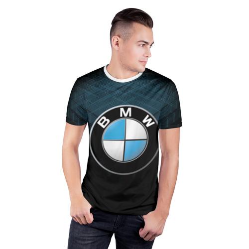 Мужская футболка 3D спортивная  Фото 03, BMW 2018 Blue Line