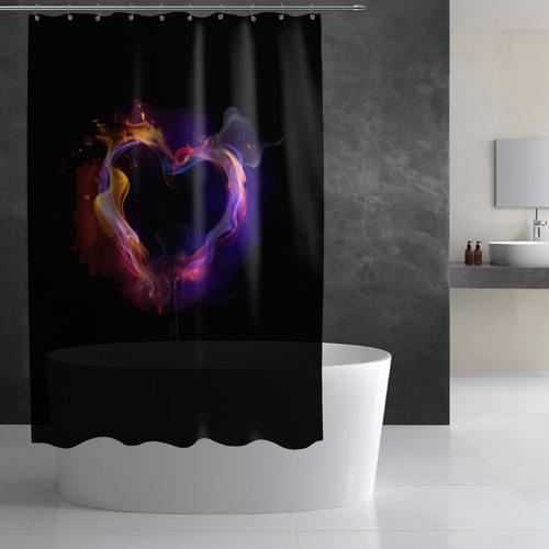 Штора 3D для ванной Огненное сердце Фото 01
