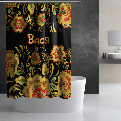 Штора 3D для ванной Вася, роспись под хохлому Фото 01