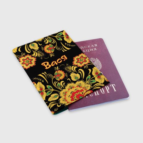 Обложка для паспорта матовая кожа Вася, роспись под хохлому Фото 01
