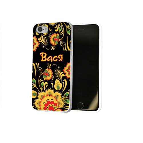 Чехол для Apple iPhone 8 силиконовый глянцевый Вася, роспись под хохлому Фото 01
