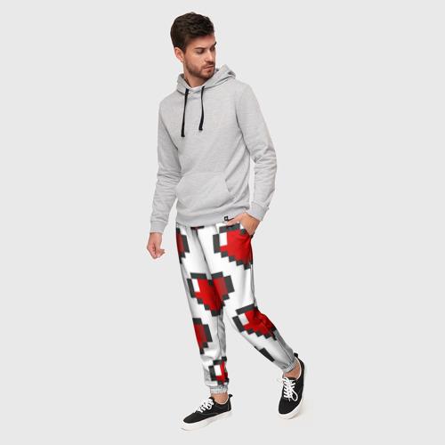 Мужские брюки 3D Пиксельные сердечки Фото 01
