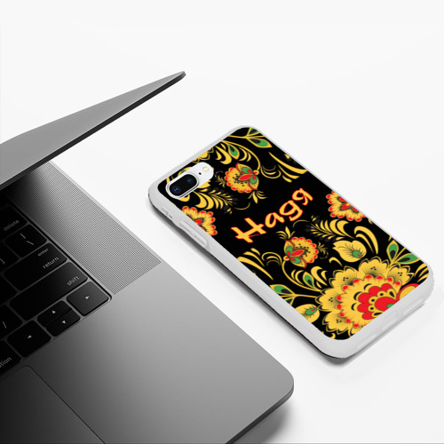 Чехол для iPhone 7Plus/8 Plus матовый Надя, роспись под хохлому Фото 01