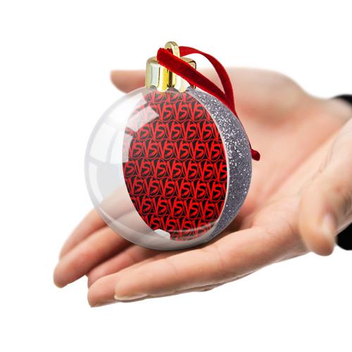 Ёлочный шар с блестками  Фото 03, VERSUS BATTLE RED