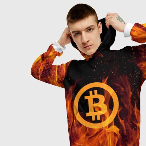 Мужская толстовка 3D BITCOIN   FIRE Фото 01