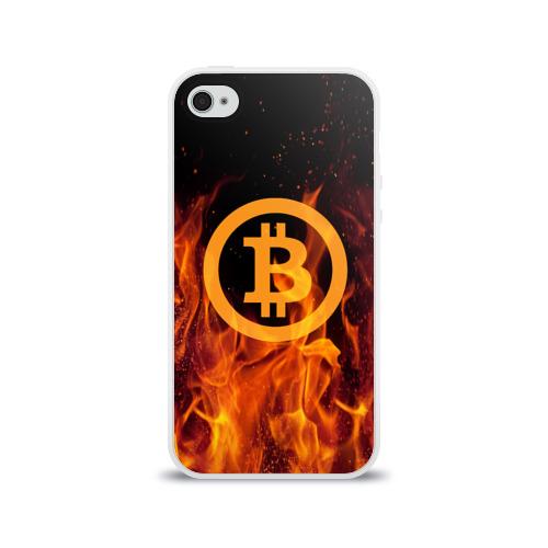 Чехол для Apple iPhone 4/4S силиконовый глянцевый BITCOIN   FIRE Фото 01