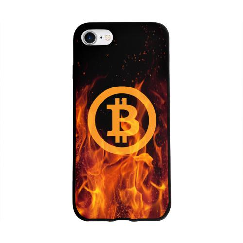 Чехол для Apple iPhone 8 силиконовый глянцевый BITCOIN   FIRE Фото 01