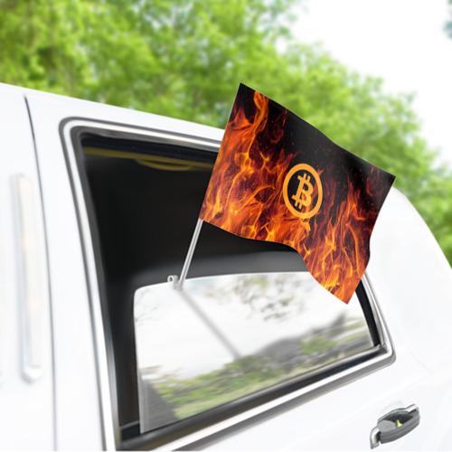 Флаг для автомобиля BITCOIN   FIRE Фото 01