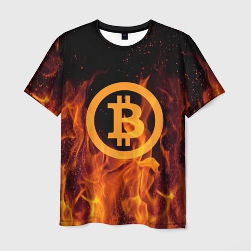 Мужская футболка 3D  Фото 01, BITCOIN   FIRE