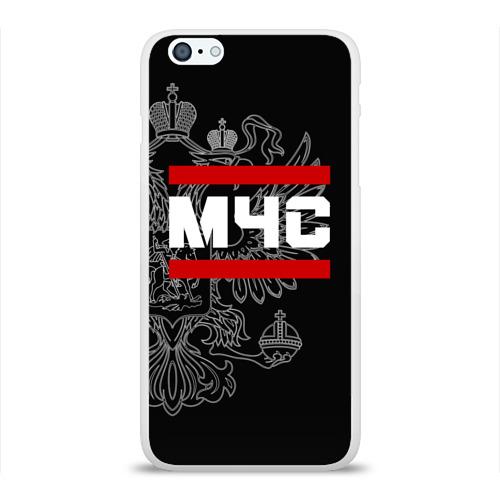 Чехол для Apple iPhone 6Plus/6SPlus силиконовый глянцевый  Фото 01, МЧС белый герб РФ