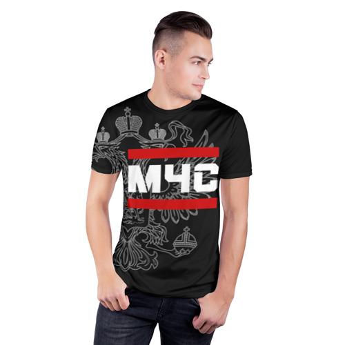 Мужская футболка 3D спортивная  Фото 03, МЧС белый герб РФ