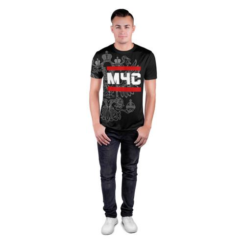 Мужская футболка 3D спортивная  Фото 04, МЧС белый герб РФ