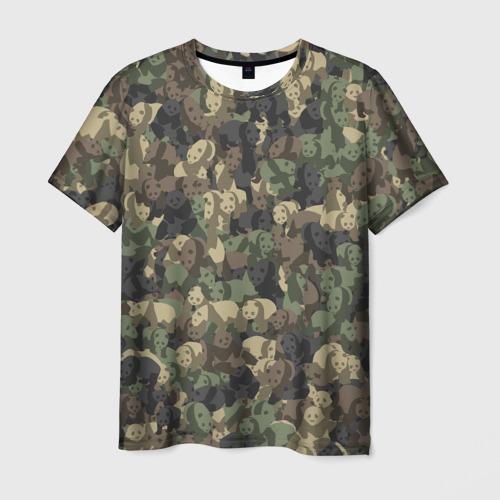 Мужская футболка 3D  Фото 01, Камуфляж с пандами