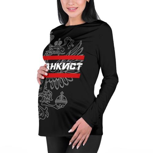 Женский лонгслив 3D для беременных  Фото 01, Танкист белый герб РФ