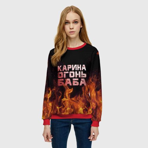 Женский свитшот 3D Карина огонь баба Фото 01