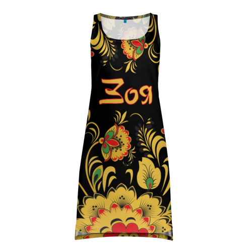 Платье-майка 3D Зоя, роспись под хохлому