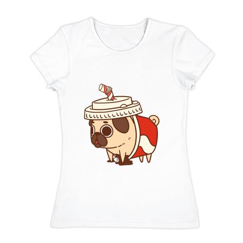Женская футболка хлопок мопс-кола
