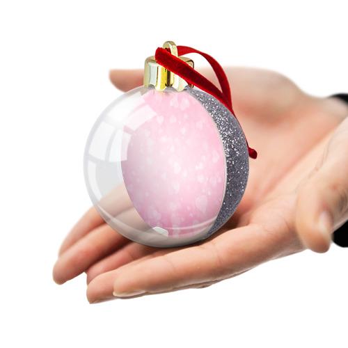 Ёлочный шар с блестками  Фото 03, Сердечки