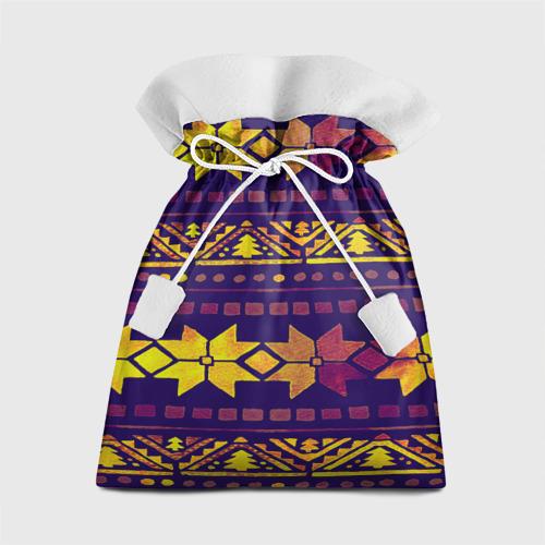 Подарочный 3D мешок  Фото 01, Золотые снежинки