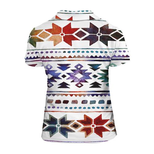 Женская рубашка поло 3D  Фото 02, Снежинки акварель