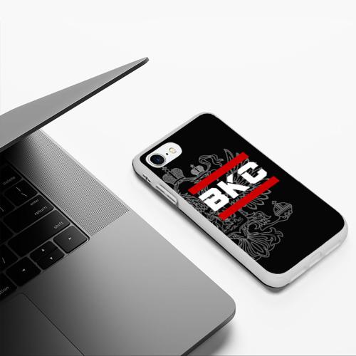 Чехол для iPhone 7/8 матовый ВКС белый герб РФ Фото 01