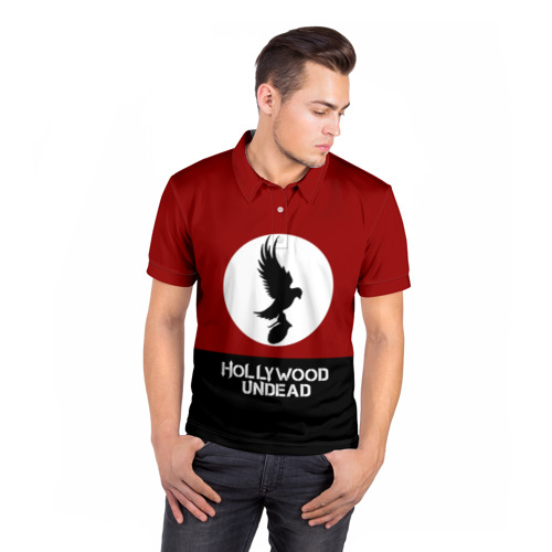 Мужская рубашка поло 3D  Фото 05, Красно-черный флаг HU