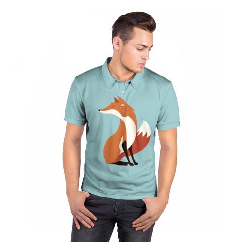 Мужская рубашка поло 3D  Фото 05, Лисичка минималистичная