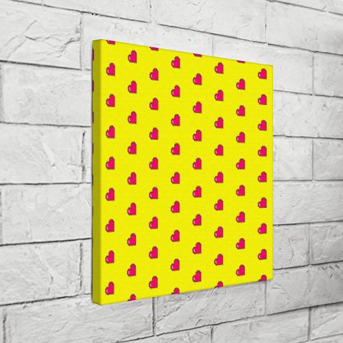 Холст квадратный  Фото 03, Love 8 bit yellow
