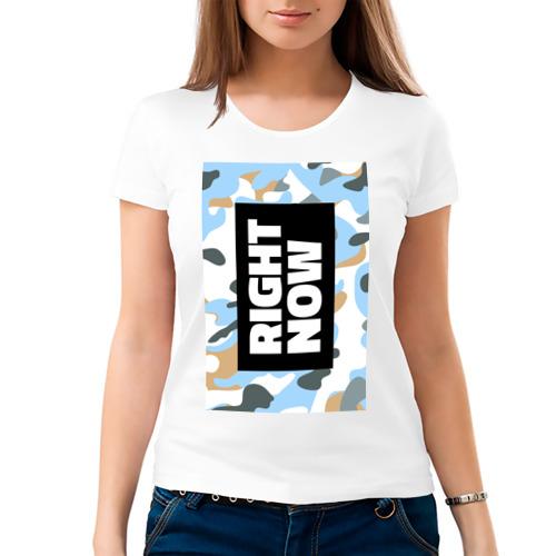 Женская футболка хлопок  Фото 03, Military White Blue