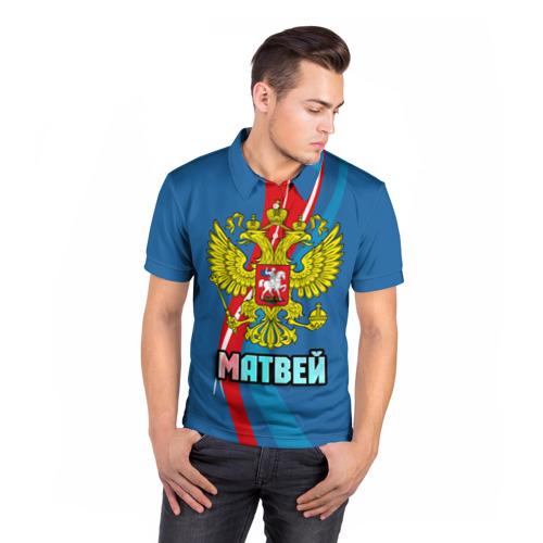 Мужская рубашка поло 3D Герб Матвей Фото 01
